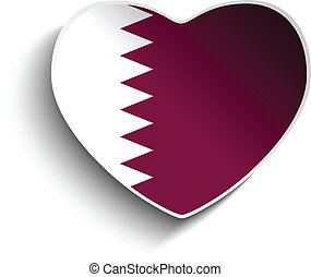 Qatar Flag Heart Paper Sticker - Vector - Qatar Flag Heart...
