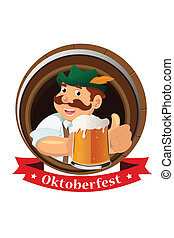 Oktoberfest concept - A vector illustration of a mustache...