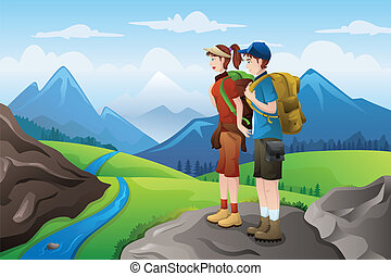 Backpackers on top mountains - A vector illustration of...