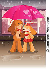 Cute dogs in love - A vector illustration of dogs in love...