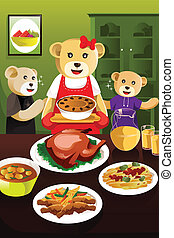 Bear family having dinner - A vector illustration of cute...