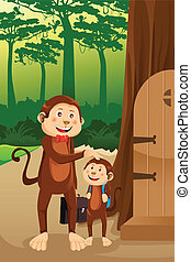 Monkey father with his child