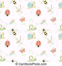 Seamless background with insects - Vector illustration EPS10