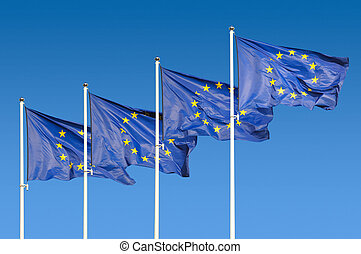 European Union Flags over sky background
