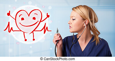 atraente, doutor, Feliz, vermelho, sorrindo, Coração