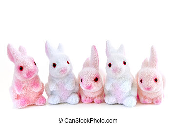 Easter bunny toys - Cute Easter bunny toys isolated on white...