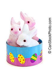 Easter bunny toys - Cute Easter bunny toys in basket...