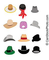 hats set over white