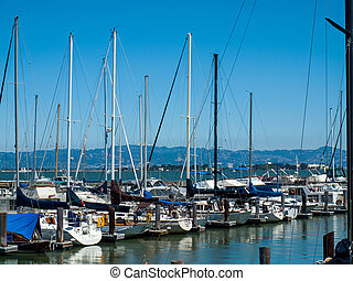 Boats Docked to a Marina in San Francisco California USA