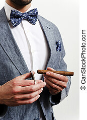 businessman with handkerchief - Businessman in a suit with...