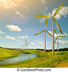Green energy concept - natural wind generator turbines on summer landscape