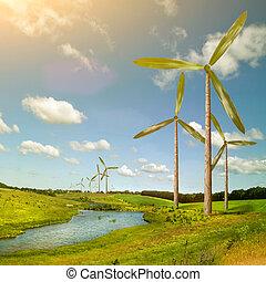 verde, energía, concepto, -, natural, viento,...