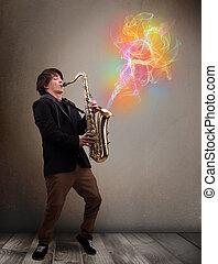 hezký, Hudebník, Hraní, saxofon,...