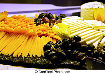 Cheese Tray with Grapes - A deli tray of fresh sliced...