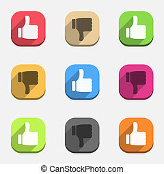 Thumbs up and thumbs down icons, vector eps10 illustration