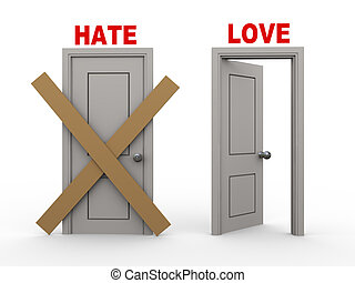 3d hate and love doors - 3d illustration of closed door of...