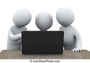 3d people centered around laptop - 3d illustration of...