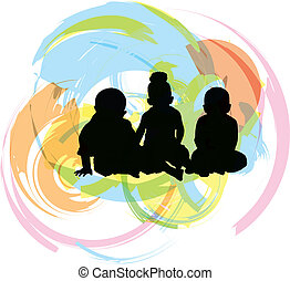 3 babies, vector illustration