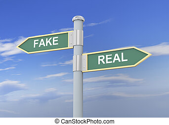 3d fake real road sign - 3d illustration of roadsign of...