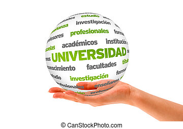 3d University Word Sphere In Spanish - Hand holding a...