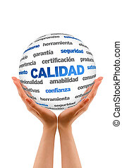 3d Quality Word Sphere In Spanish - Hands holding a 3D...