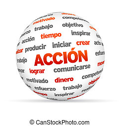 3d Action Word Sphere In Spanish - 3d Action Word Sphere...