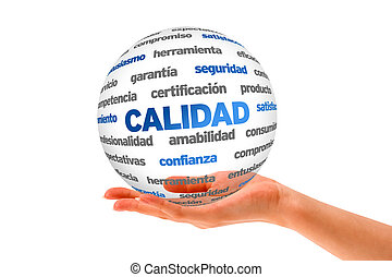 3d Quality Word Sphere In Spanish - Hand holding a Quality...