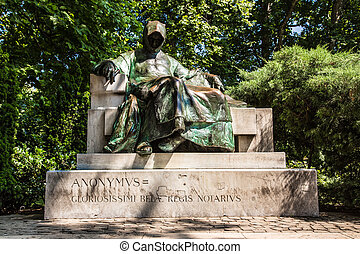 statue of Anonymus in Budapest - Statue of Anonymous,...