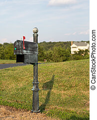 US post or mail box by side of street - Typical US post or...