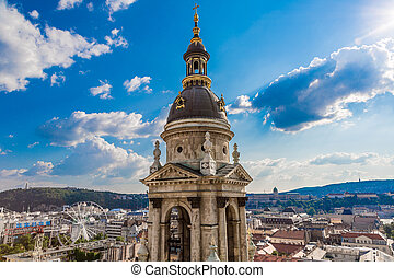 Aerial view at Budapest from the top of St Stephen Basilica...