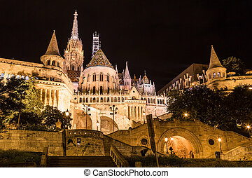 Fishermans bastion night view, Budapest, Hungary -...