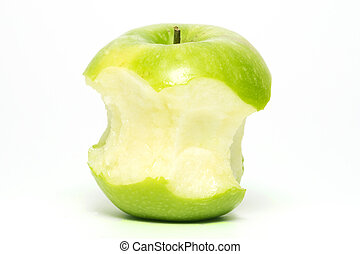 fully eaten green apple - fullen eaten green apple white...