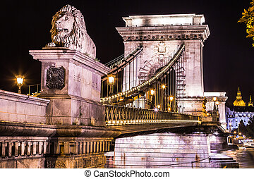 City of Budapest in Hungary night urban scenery, street on...