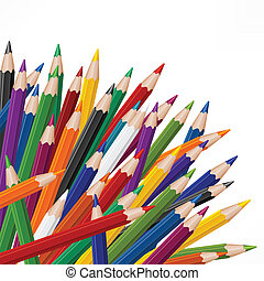 Colored wooden pencils - Many colored wooden pencils on...