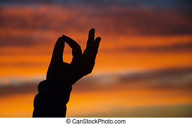 Silhouette of hand in mudra on sunset in Malibu