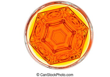 Glass of alcohol, addiction, top view