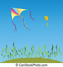 kite - colorful kite and yello kite on abstract background