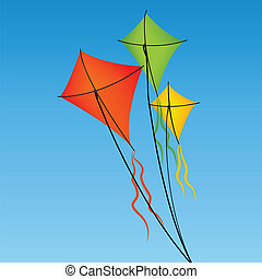 three kites - orange, green and yellow kite on abstrac sky...