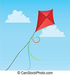kite - special red kite on abstract sky background