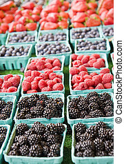 Four Kinds of Berries - Baskets of blackberries,...