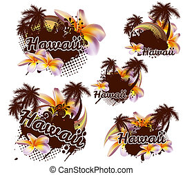 Tropical design element Hawaii Vector palms, plumeria