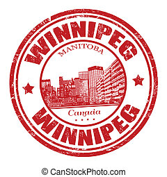 Winnipeg stamp - Red grunge rubber stamp with the name of...