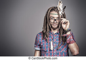 hippie new - Portrait of a hippie young man in spectacles