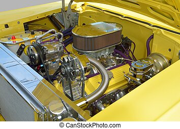 Customized Car Engine - Vibrant color yellow customized car...