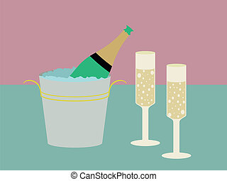 Champagne glasses - A bottle of Champagne in a ice bucket...