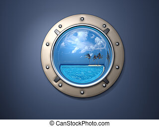 porthole and island - Ship metal window and far far island