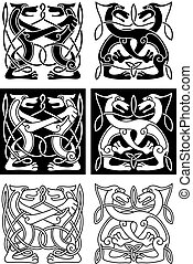 Tribal celtic ornament with wild dogs in retro style