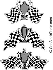 Racing sport awards and trophies with checkered flags...