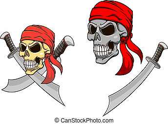Pirate skull with sharp sabers