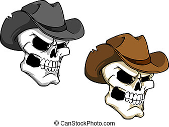Cowboy skull in brown hat for tattoo or mascot